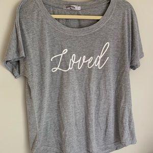"Tops - ""Loved"" Grey cute T-shirt"